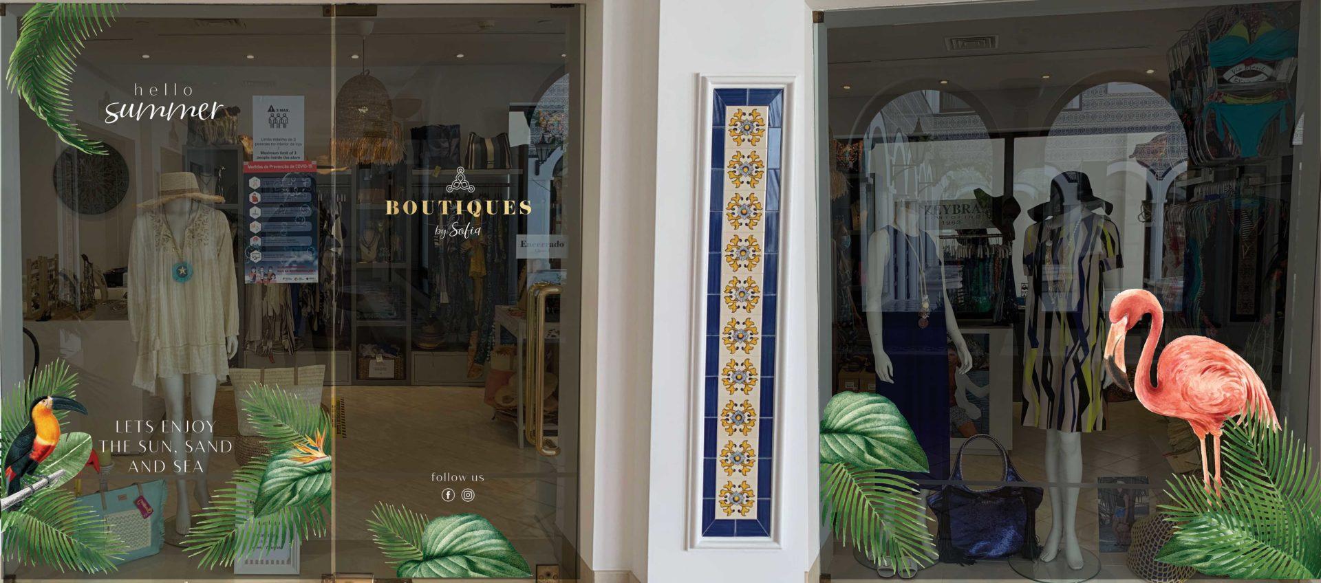 design de montra com nova identidade visual da boutiques by sofia