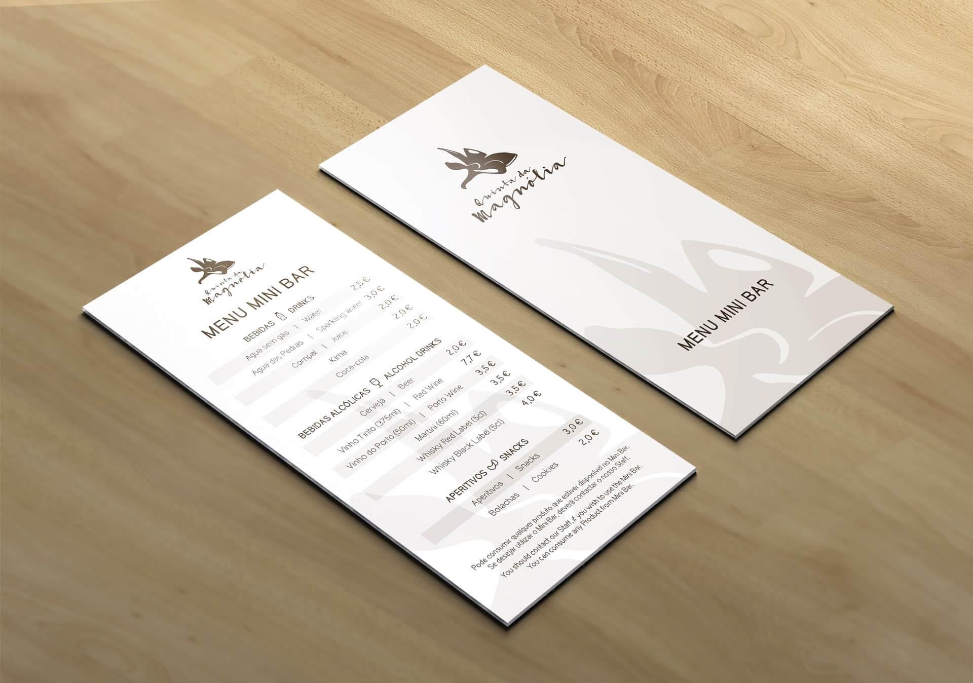 menu de mini-bar quinta da magnólia frente e verso