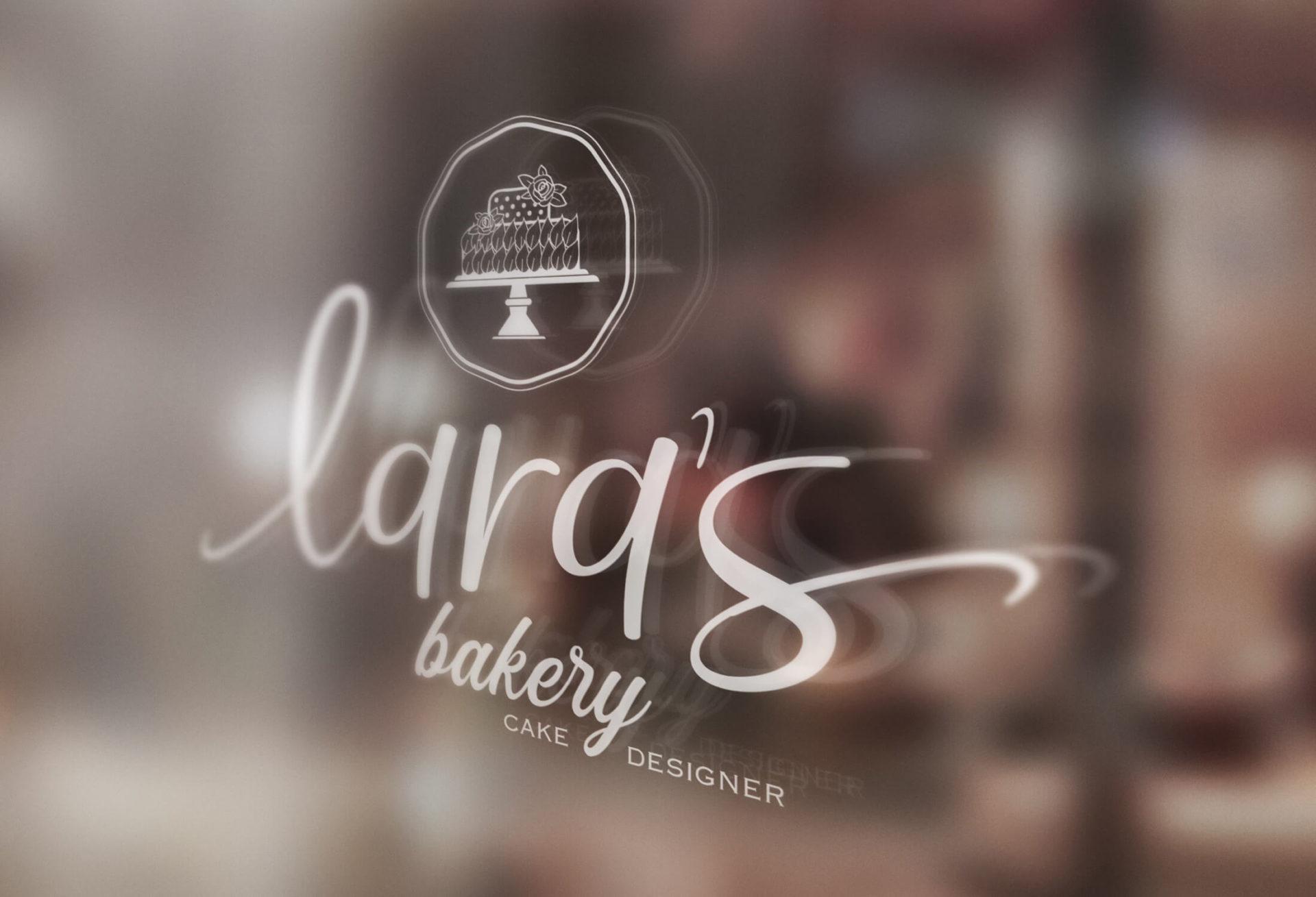Decoração de montra Logotipo Lara's Bakery