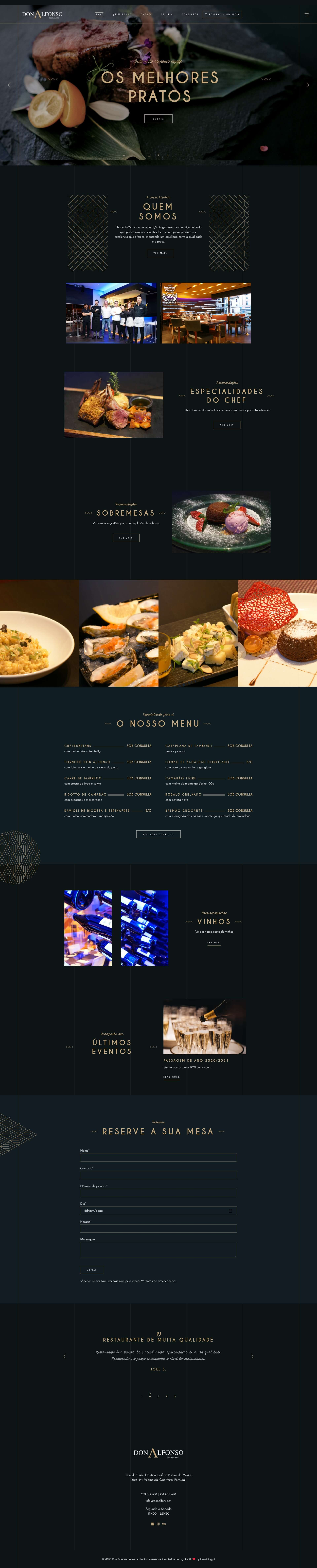 Website desenvolvido emWordPress para o restaurante Don Alfonso